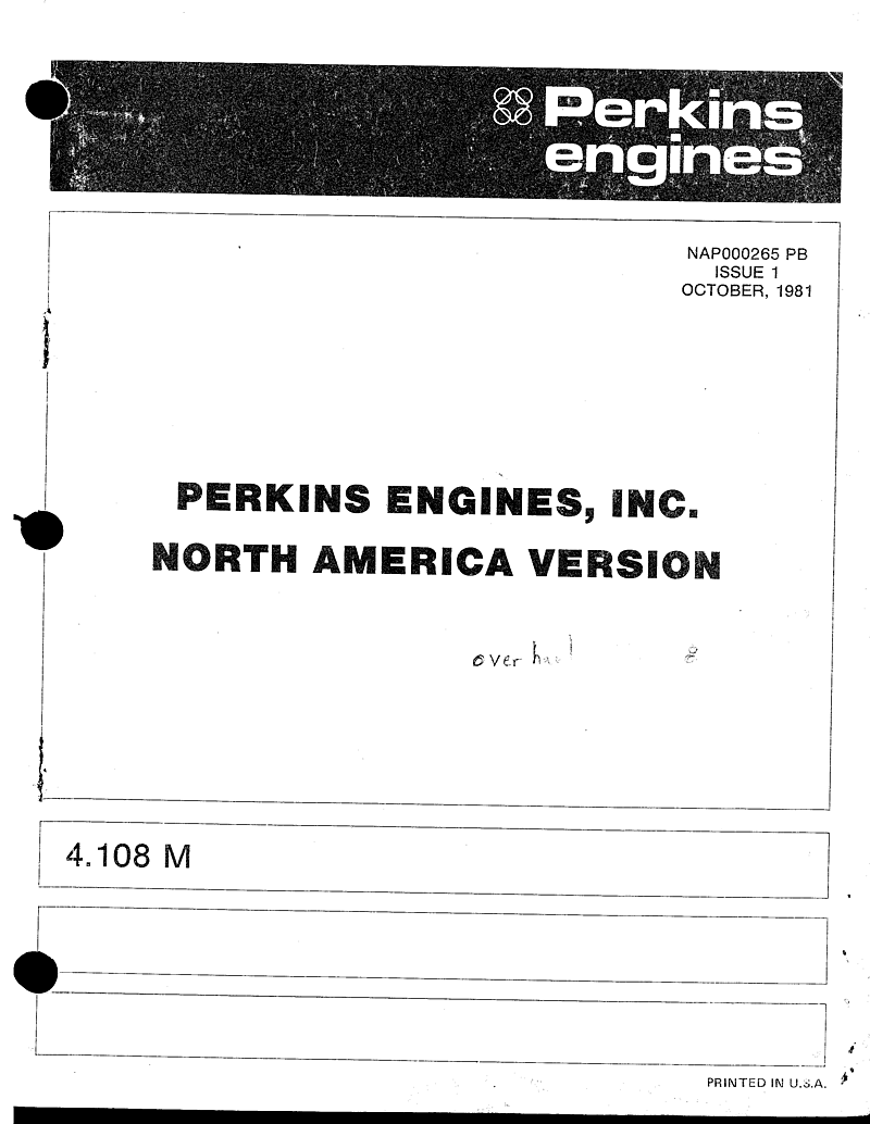 Perkins 4 108m Parts Manual