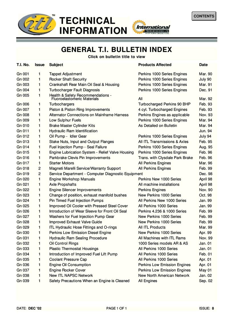 Perkins General Technical Information Bulletin
